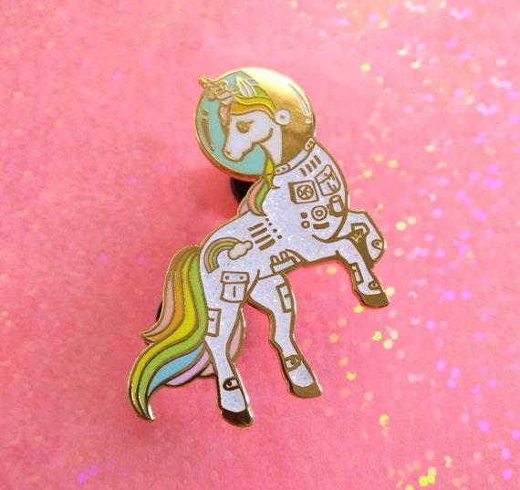 Natterboxx Illustration Unicorn Soft Enamel Glitter Lapel Pin