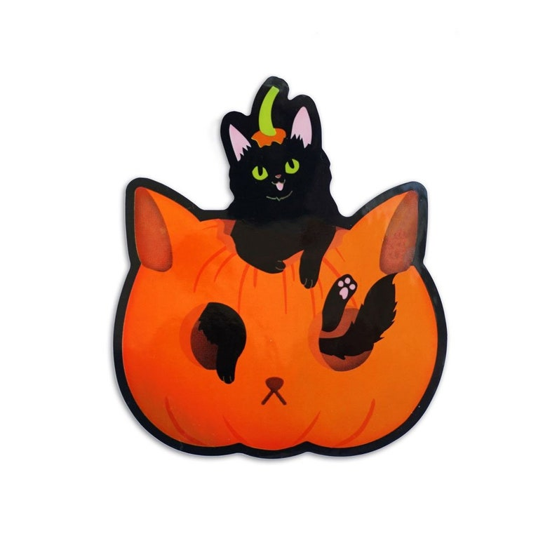 Cat Sticker, Black Cat, Halloween Sticker, Pumpkin Sticker, Black Cat  Sticker, Black Cat Lover, Cat Lover Gift, Holographic Sticker