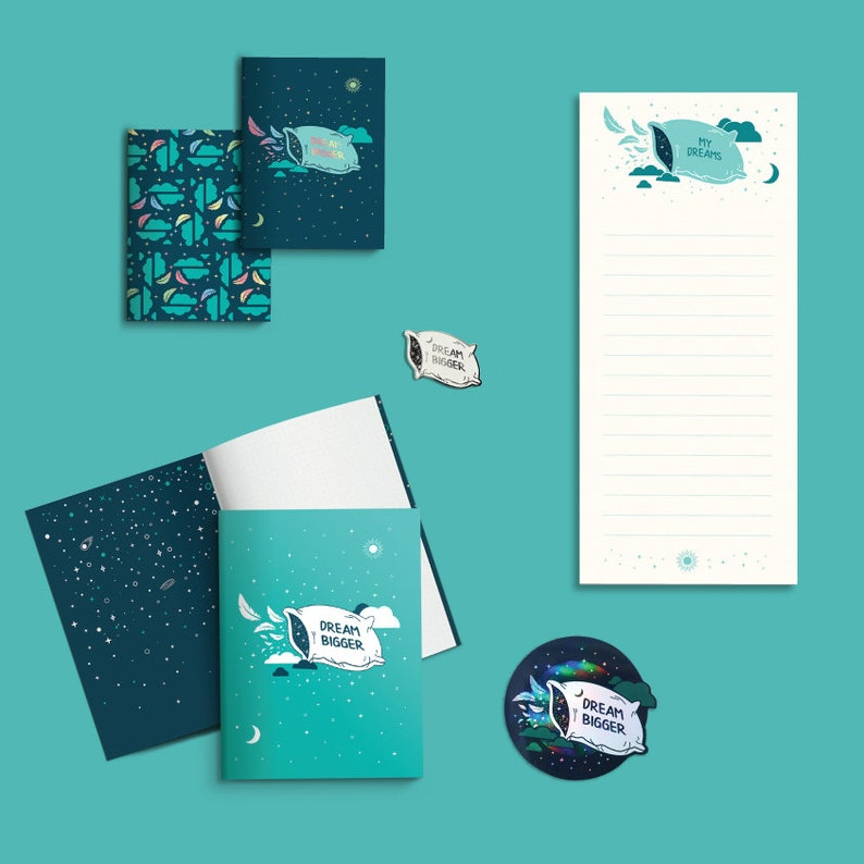 Dream bigger Travel stationery Inspirational notepad Goal list Desk notepad Packing list To do list Writing pad Stationery notepad