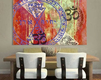 OM- decorated print on canvass, Vaz'S Italian Artist,Valentina Azzini