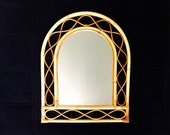 Vintage Bamboo Wicker Rattan Arched Wall Mirror Boho decor