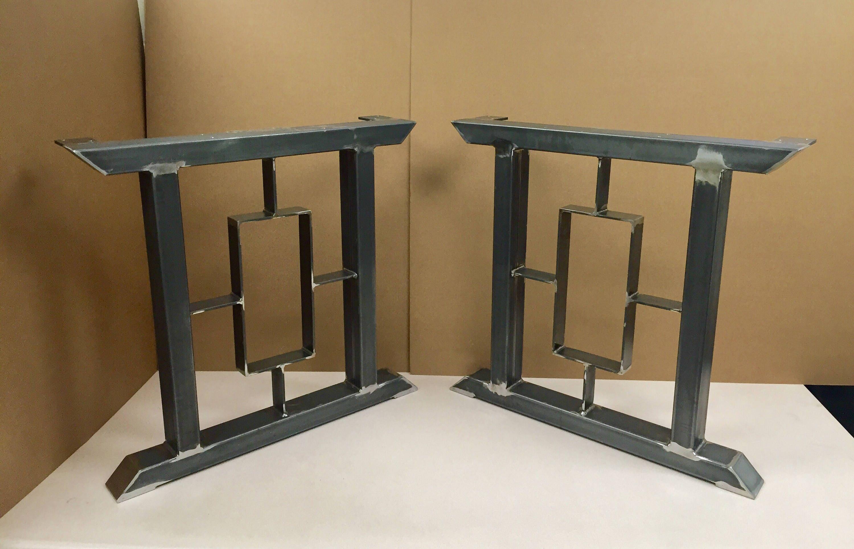 design des pieds de table moderne 2 bars avec carr rectangle etsy. Black Bedroom Furniture Sets. Home Design Ideas