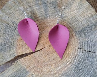 Pink leather earrings, genuine leather earrings, long earrings, leather jewelry, teardrop earrings, drop earrings, lightweight earrings