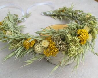 Rustic head wreath, bridal head crown,dried flower wreath,rustic head crown,floral head crown,dried flower head crown, rustic hair accessory