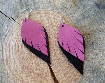 Leather earrings, genuine leather earrings, long earrings, leather jewelry, leaf earrings, drop earrings, lightweight earrings