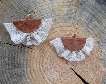 Brown leather earrings, lace earrings, genuine leather earrings, brown earrings,