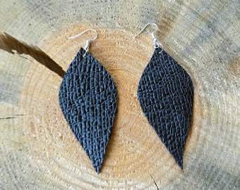 Black leather earrings, genuine leather earrings, long earrings, leather jewelry, leaf earrings, lightweight earrings