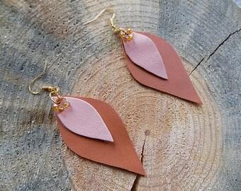 Brown leather earrings, genuine leather earrings, long earrings, leather jewelry, leaf earrings, lightweight earrings