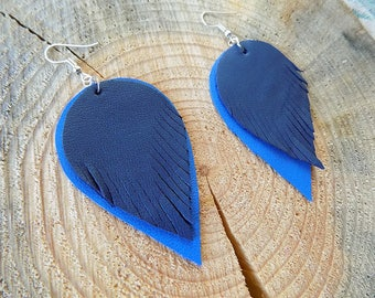 Blue leather earrings, genuine leather earrings, long earrings, leather jewelry, teardrop earrings, drop earrings, lightweight earrings