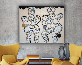 Two BODIES CIRCLES Geometric Contemporary Art Composition Minimalism