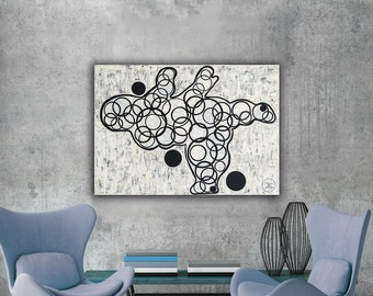 Ballerina BODY CIRCLES Geometric inspired by Botero Contemporary Art Composition Minimalism