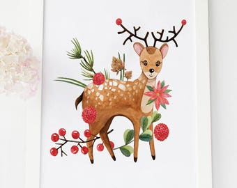 deer decor deer decal christmas woodland wreath christmas deer christmas deer decor christmas deer ornaments christmas nursery print - Christmas Deer Decor