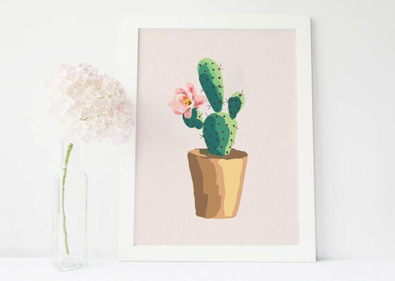 Cactus print cactus art succulent print cactus wall art | Etsy