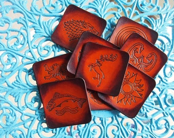 Game of Thrones Houses coasters, set of 9 leather pads, leather coasters