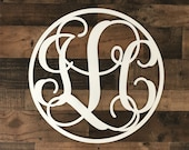 Personalized Circle Monogram Wall Hanging 24 quot Custom Painted Vine Letters Wall Plaque, Dorm, Baby, Shower, Wedding, Engagement Gift, Dorm