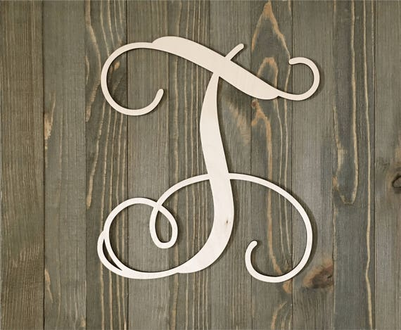 "Vine Monogram Letters 1//8/"" Wood Rectangle 12/"" 18/"" Wall Plaque Shower Wedding"
