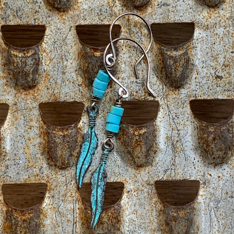 Gemstone Earrings Rustic Earrings Dangle Earrings Gifts for Her Oxidized Sterling Silver /& Turquoise Earrings With Patina Feather Charms