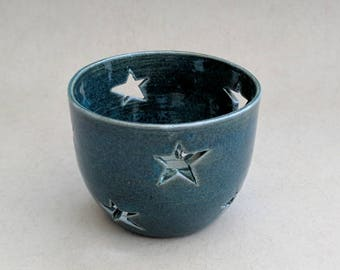 Starry blue lumineers for tea light candles- Handmade stoneware ceramics