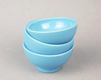 Small blue ceramic bowls -- Handmade stoneware ceramics