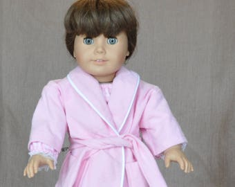 """Adorable pink flannel bathrobe for 18"""" dolls, fits American Girl and similar dolls."""