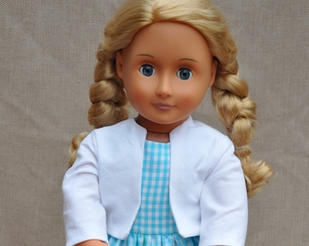 """Sweet gingham dress and white jacket for 18"""" dolls including American Girl."""