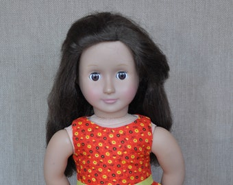 """Cute red dress for 18"""" dolls, fits American Girl and similar dolls."""
