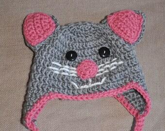Kitten hat - Handmade Crocheted Hat. Great for Baby Shower Gifts!