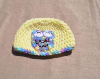 Newborn yellow owl hat