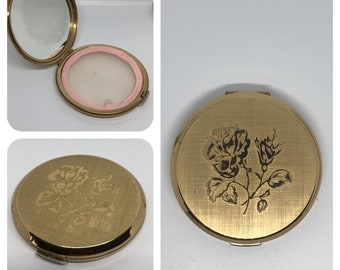 Gold-tone Compact Mirror with photo frame inside