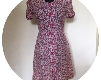 Vintage 60's Pink & Purple Floral Tea Dress UK size 8