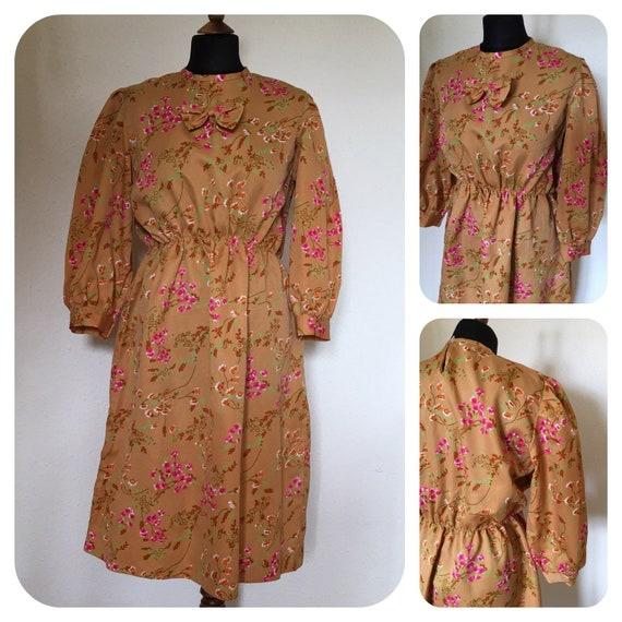 Vintage 70's Tangerine & Pink Floral long sleeved