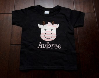 Girl Cow Embroidered Children's Shirt