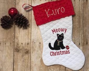 Cat Christmas Stockings.Black Cat Stocking Etsy