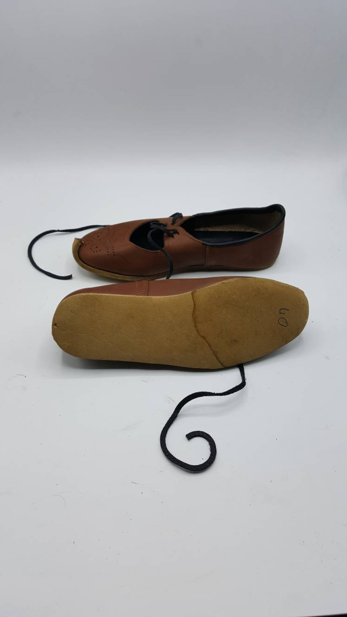 Handmade Genuine Leather Custom Made Women's Lace Up Summer Flats, Naturel Shoes