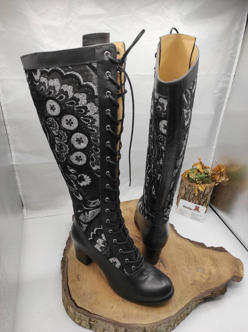 History of Victorian Boots & Shoes for Women Victorian Style Boots Made To Order Suzani Boots Block Heel Womens Boots Knee High Casual Boots Lace Up Boots Outdoor Fit $219.00 AT vintagedancer.com