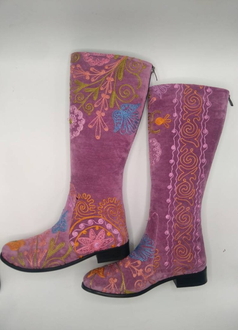 Embroidery Boots Leather Purple Boots Custom Made Riding Boots Suzani Boots Custom Made Flat Floral Pattern