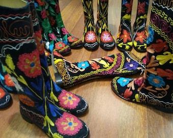 Suzani boots....Custom Made. 1 inch heel.