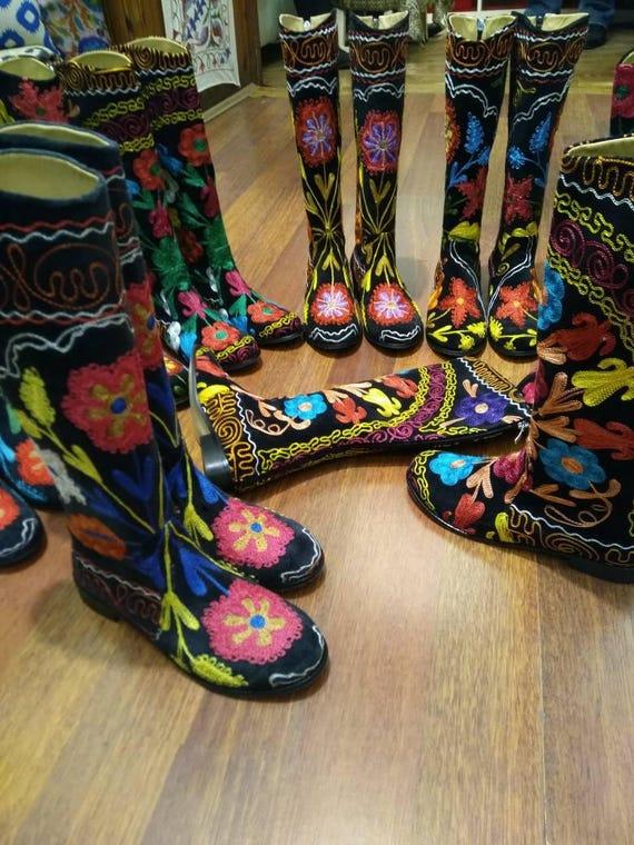 Custom Made Dames Boots, Suzani Boots, Borduurlaarzen, handgemaakt, GRATIS VERZENDING