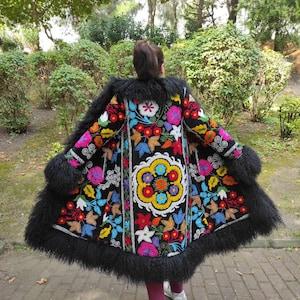 70s Jackets, Furs, Vests, Ponchos Suzani Embroidered Shearling Trimmed Coat Afgan Coat Vintage Coat Custom Made Fur For Her Shearling Coat Made To Order FREE SHIPPING $475.00 AT vintagedancer.com