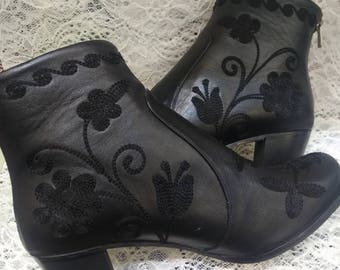 Boots...Leather on leather. Embroidery..Custom Made