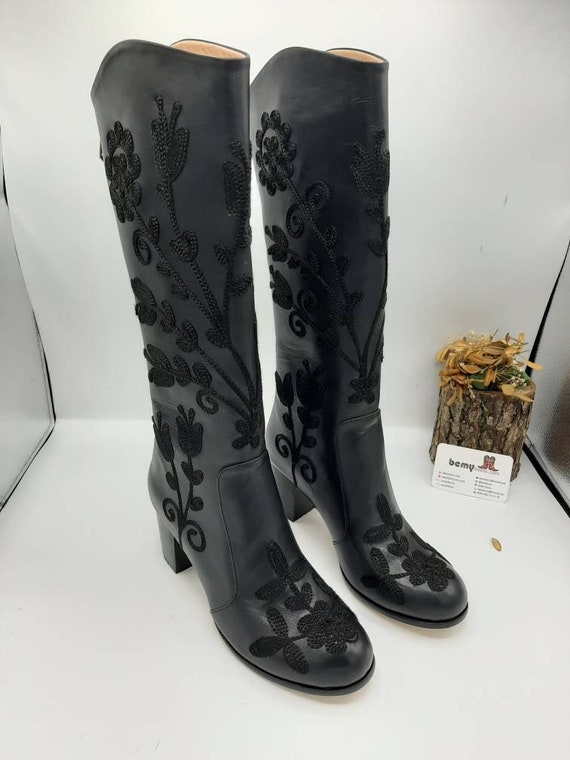 FREE SHIPPING Suzani Women/'s Boots Custom Made Black Boots Over The Knee Boots