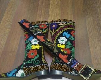 Suzani Boot.Custom Made. 1 inch heel