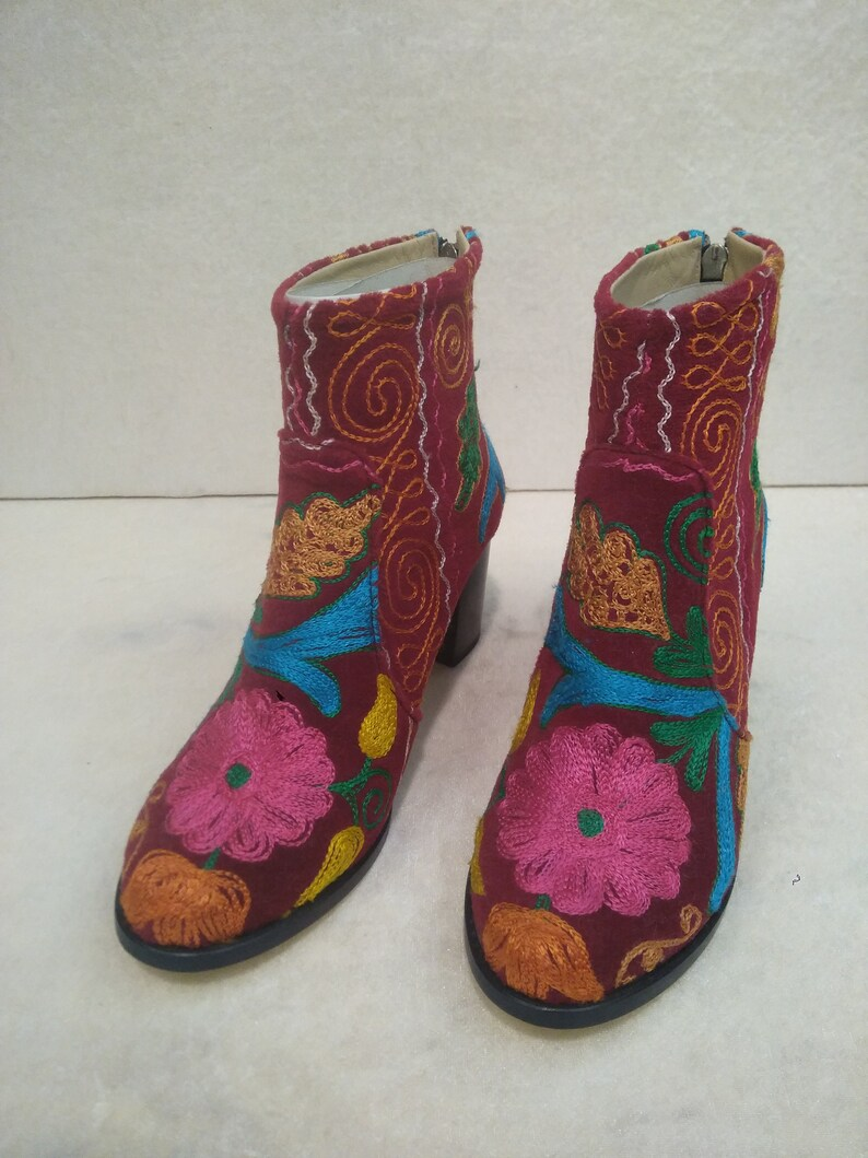 cebf663690ec Suzani Boots. Red Boots. Embroidery Boots. Platform Ankle