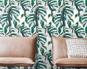 Monstera papel pintado, papel pintado extraíble, auta-adhesivo de mármol pintado, decoración de la pared de la hoja, Botánico Wallcovering - JW119