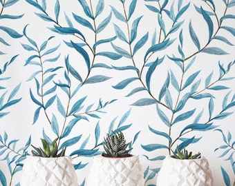 Self-adhesive Wallpaper Removable Wallpaper Jungle Wallcovering Watercolor Blue leaf Wallpaper Jungle Wall D\u00e9cor JW007