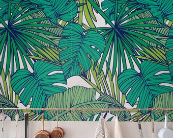 Palm Monstera Leaf Wallpaper Removable Self Adhesive Tropical Wall Decor Jungle Wallcovering