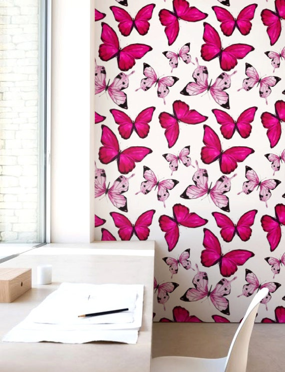 Hot Pink Butterfly Wallpaper Removable Self Adhesive Nursery Wallpaper Modern Wall Decor Wallcovering Jw112