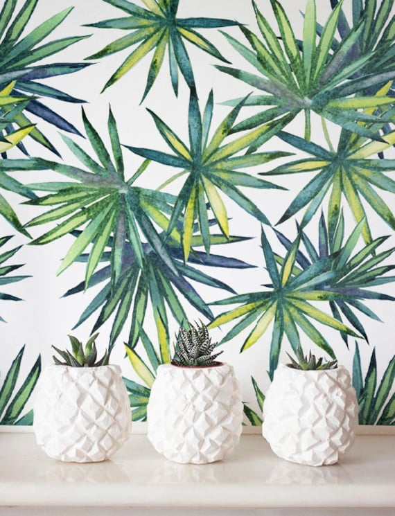Watercolor Palm Leaves Wallpaper Removable Wallpaper Etsy