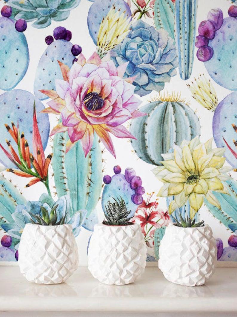 Watercolor Cactus Wallpaper Removable Wallpaper image 0