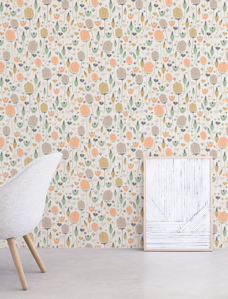 Delicate Flower Wallpaper Removable Wallpaper Self-adhesive image 0
